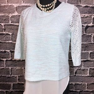 NWT Lauren Conrad S Baby Blue Layer Top Lace Slvs